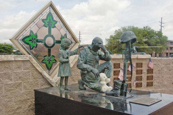 Memorial honoring a soldier mourning the loss of a fellow comrade