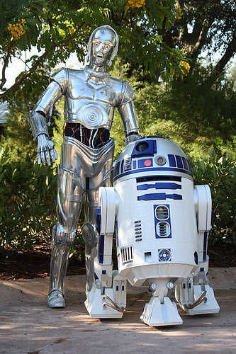 Photo of C3P0 and R2D2 together