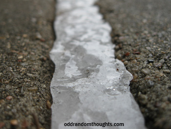 Ice in a crack